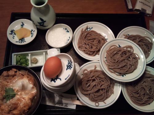 文楽_皿そば5皿とミニ親子丼