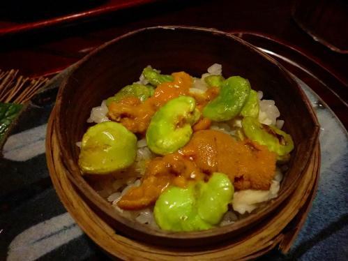 天ぷら松_ソラマメとウニのご飯