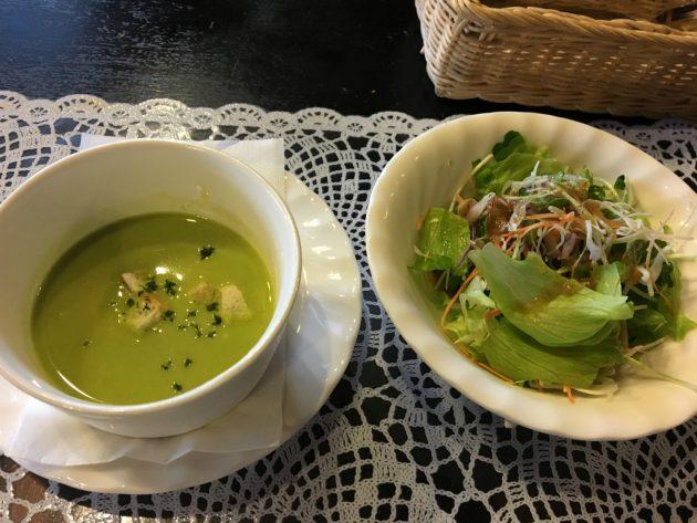 宮崎イーハトーヴ_ランチのスープとサラダ